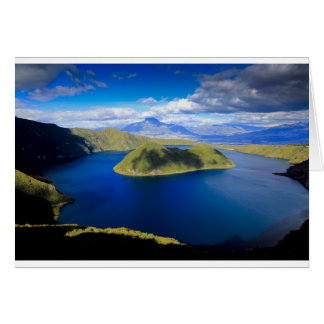 Cuicocha crater lake and island, Ecuador Andes Card
