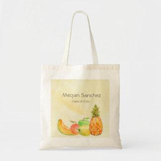 Culinary School Graduate Watercolor Fruit Budget Tote Bag