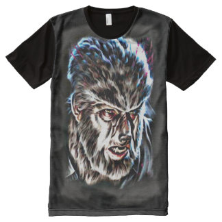 Cult Classic Wolfman Dark Horror Fantasy Art All-Over Print T-Shirt