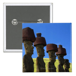 Cultural statues, Easter Island, Polynesia 15 Cm Square Badge