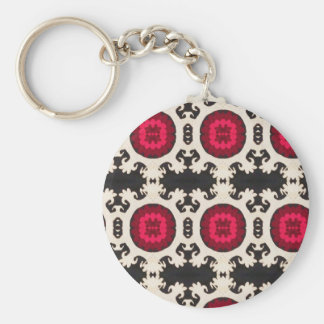 Cultural, Tribal, Indian, Colorful Vintage Print Basic Round Button Key Ring