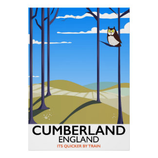 Cumberland, England vintage style travel poster. Poster