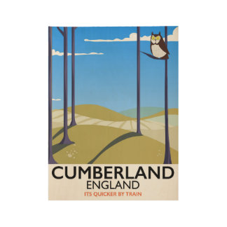 Cumberland, England vintage style travel poster. Wood Poster