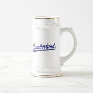 Cumberland script logo in blue mug