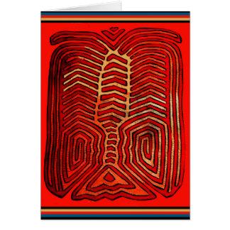 Cuna Indian Tribal Lobster Skeleton Card