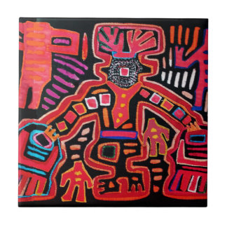 Cuna Indian Tribal Shaman With Fans Small Square Tile