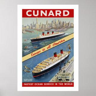 Cunard Queens Poster