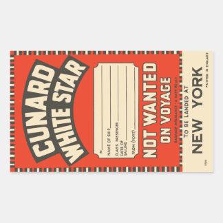 Cunard White Star (to New York) Rectangular Sticker