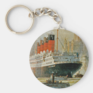 Cunarder at New York Basic Round Button Key Ring