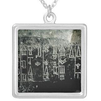 Cuneiform script silver plated necklace