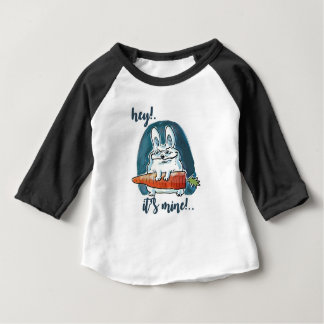 cunning rabbit holds carrot funny cartoon baby T-Shirt