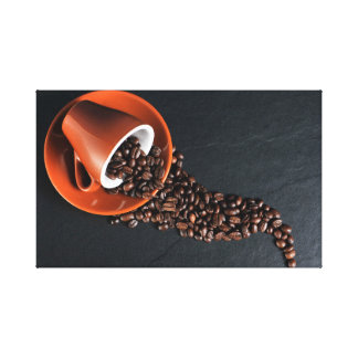 Cup and coffee beans artistic composition stretched canvas prints