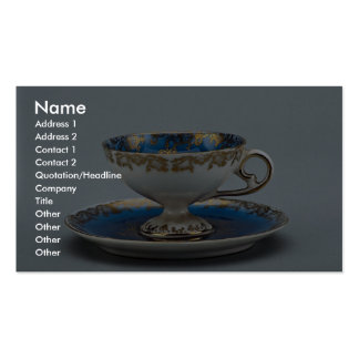 Cup and saucer with colorful designs business card template