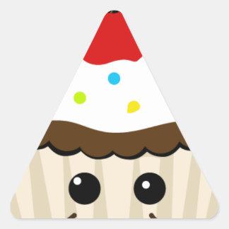 Cup-cake-2 HAPPY CHOCOLATE CUPCAKE CHERRY TOP ICIN Triangle Sticker