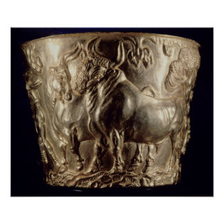 Cup, depicting a domestic bull posters