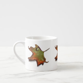 Cup expresso with watercolor of autumnal leaf