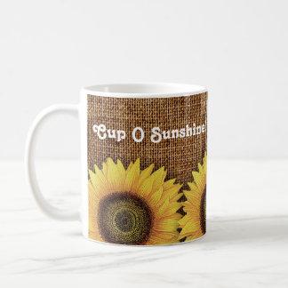 Cup O Sunshine Sunflower Vintage Linen Mug