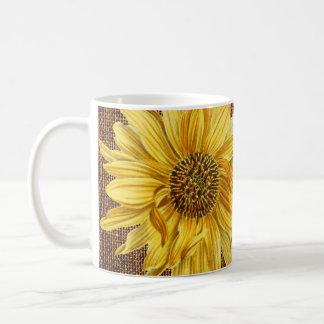 Cup O Sunshine Sunflower Vintage Linen Mug 2