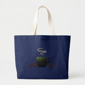 Cup of Coffee with Beans Large Tote Bag