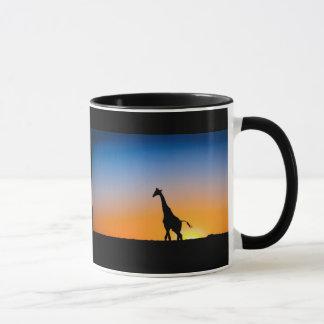 Cup of giraffes sunset
