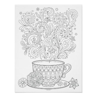 Cup of Tea Coloring Poster - Tea Cup Art