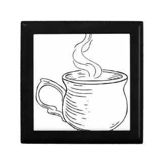 Cup of Tea or Coffee Vintage Retro Etched Style Gift Box