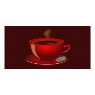 cup_of_tea_Vector_Clipart TEA COFFEE Red Mug Personalised Photo Card
