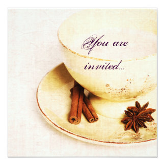 cup of tea with spices - tea party invite