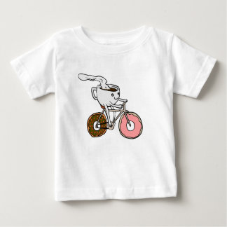 Cup riding a bicycle with donut wheels baby T-Shirt