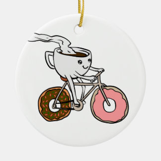 Cup riding a bicycle with donut wheels ceramic ornament