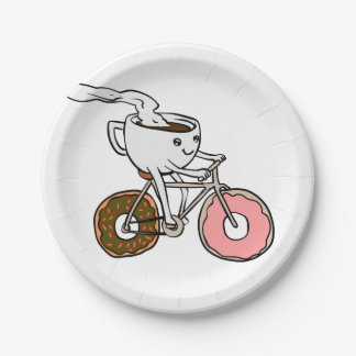 Cup riding a bicycle with donut wheels paper plate