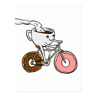 Cup riding a bicycle with donut wheels postcard