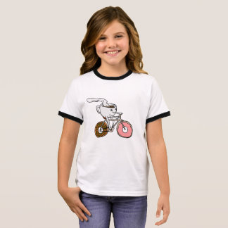 Cup riding a bicycle with donut wheels ringer T-Shirt