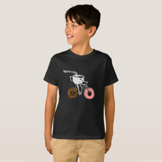 Cup riding a bicycle with donut wheels T-Shirt