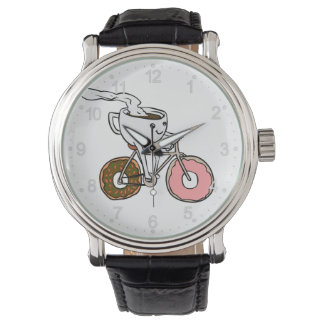 Cup riding a bicycle with donut wheels watch