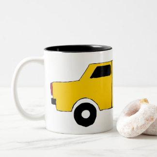 Cup, small sweet car in yellow Two-Tone coffee mug