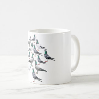 Cup with collage of carrier pigeons