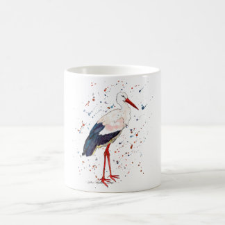 Cup with handpainted stork