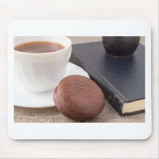 Cup with hot cocoa and chocolate cake mouse pad