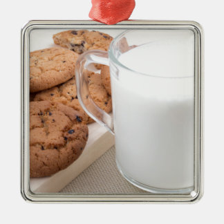 Cup with milk and oatmeal cookies Silver-Colored square decoration