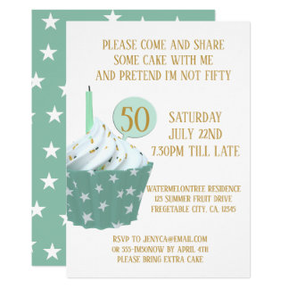 Cupcake 50th Birthday Party Invitation