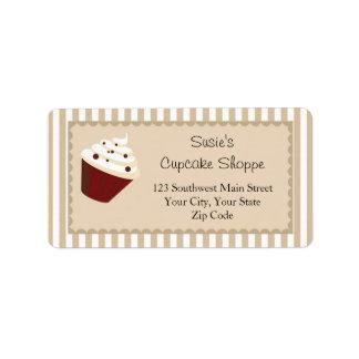Cupcake Address Labels, Soft Mocha Stripes Address Label