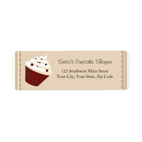 Cupcake Address Labels, Soft Mocha Stripes Return Address Label