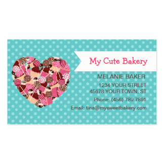 Cupcake and Cake Pops on Teal Polka Dots Business Card Template