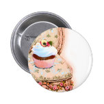 Cupcake and Chair Vintage Style Button Pin