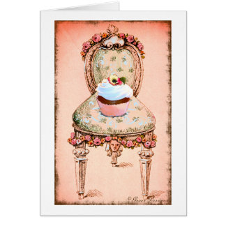 Cupcake and Chair Vintage Style Card