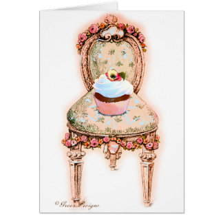 Cupcake and Chair Vintage Style Cards