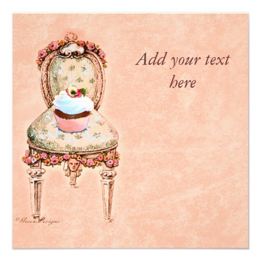 Cupcake and Chair vintage Style Invitation Card