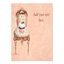 Cupcake and Chair vintage Style Invitation Card 13 Cm X 13 Cm Square Invitation Card