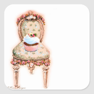 Cupcake and Chair Vintage Style Stickers Tags